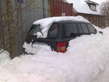 Socially unacceptable vehicle in snow