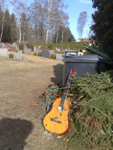 Recycled Votive Guitar on the Compost